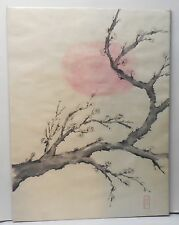 Plum Blossom Moon Original Brush Painting Japanese Signed Ink and Watercolor
