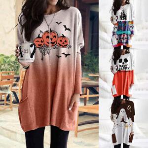 Womens Halloween Pumpkin Loose Jumper Tops Long Sleeve Loose Pullover Tunic Top