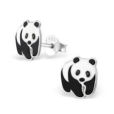 925 Sterling Silver Panda ear stud Earrings cute boxed childrens gift 9mm x 9mm