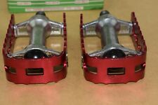 Wellgo LU 307 pedal set 1/2 anodized red Old school Bmx Vintage alloy 1980s NOS