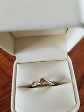 PROMISE RING - GOLD TWIST WITH DIAMOND CHIPS SIZE 4 PRE-OWNED