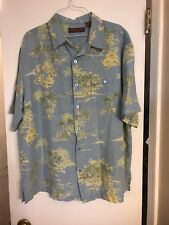 Tori Richard Hawaiian Shirt XL Palm Trees Water Silk Linen Blend Camp Beach Aloh