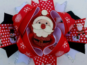 "Santa Red Black White Silver Sparkle Santa Felt Center Piece Hair Bow 5"""