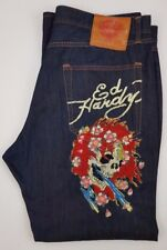 Ed Hardy Jeans 42 34 Mens Size Blue Denim Jean Embroidered Skull Flowers Cotton*