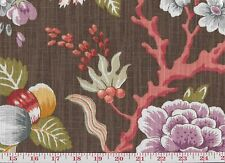 Cotton Floral Print P Kaufmann Drapery Upholstery Fabric Coral Grove CL Chestnut