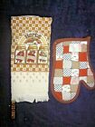 VTG 1970s MOD KITCHEN DESIGN TERRY CLOTH TOWEL AND OVEN MITT- ORIGINAL TAGS