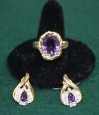 Stunning Estate Set of Silver Ring and Earrings with Amethyst.