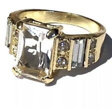 Women's Promise Engagement Gold Plated Crystal Stones Ring 9.5