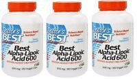 Doctor's Best - Best Alpha Lipoic Acid 600 mg, 180 Veggie Capsules - 3 Pack