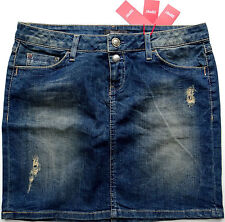 ESPRIT JEANS ROCK BLAU GR. 36 (W28) STRETCH USED LOOK STIEFEL ROCK MINI NEU