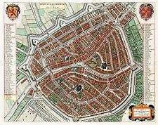 MAP ANTIQUE BLAEU LEIDEN CITY PLAN HISTORIC LARGE REPLICA POSTER PRINT PAM0576