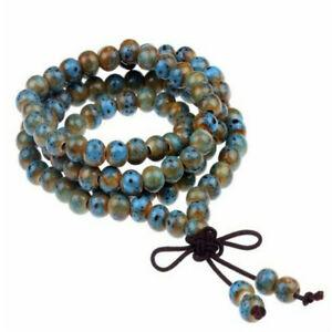 6mm  Buddhism 108 ceramic Prayer Bead Mala Gemstone Necklace Handmade yoga cuff
