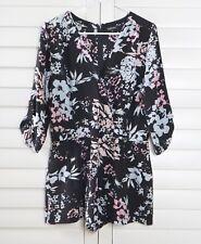 ANTHROPOLOGIE $188 Yumi Kim Black Floral 100% Silk Romper Size Medium