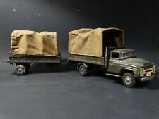 Vintage Japan Tin Litho Friction U.S. Army Truck & Trailer Green Military Toy