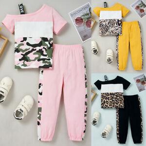 2Pcs Toddler Kids Cold Shoulder Tracksuit Outfits Camo Leopard Tops Pants Set UK
