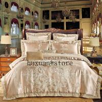 4/6Pcs Luxury Silk Cotton Jacquard Bedding Set Embroidery Duvet Cover Set Sheet