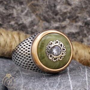 Mens Anniversary Gemstone Ring Heraldic Signet Round Cabochon Stone Cool Jewelry