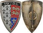 19° Division d'Infanterie, émail, dos lisse gravé, Drago 1033 (6980)