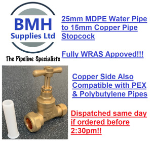 25mm x 15mm BRASS MAINS STOPCOCK FOR BLUE MDPE TO COPPER STOP TAP. FREE DELIVERY