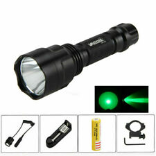 Tactical Green/White/RED LED C8 Flashlight Torch+Gun Mount+18650+Pressure Switch