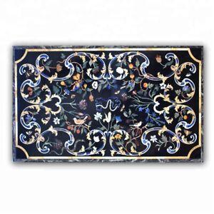 "48"" x 30"" Black Marble Table Top Pietra dura Inlay room Furniture Decor"