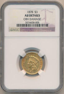 1878 $3 Dollar Gold. NGC AU Details