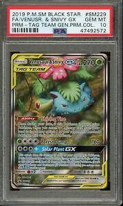 Pokemon TCG Venusaur & Snivy GX #SM229 PSA 10 *92572*