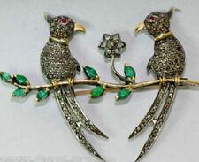 Love Birds 2.78cts Rose Cut Diamond & Emerald Brooch Pin, Free Shipping