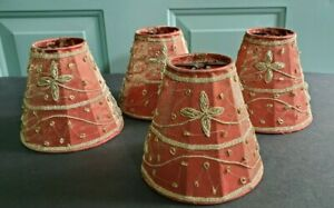 """4 Red 5"""" x 5.5"""" Clip Chandelier Lamp Shades~Tapestry Braid & Gold Metal Beads"""