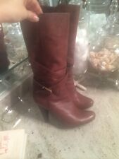 BCBG Girls BCBGirls Brown Leather Mid Calf Buckle Pull On Heels Boots 8.5
