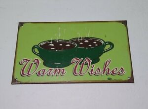 VINTAGE DISTRESSED MUMMERT WARM WISHES COFFEE TIN METAL HOME DECOR SIGN