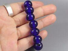 10 Vintage Cobalt Blue  Chinese Peking Glass Trade BEADs #84