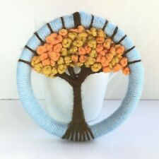 Handcrafted wall hanging autumn tree, fall wool woven weaving hoop