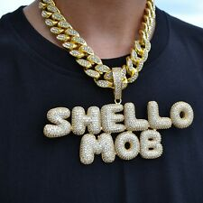Custom Initial Bubble Letter Name Pendant with Hip Hop Cuban Rope Chain Necklace