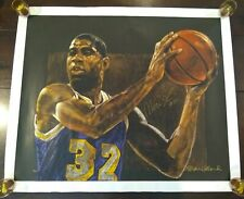 "STEPHEN HOLLAND PRINT ""MAGIC"" SERIGRAPH CANVAS SIGNED BY MAGIC JOHNSON & HOLLAND"
