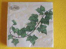 1 Packung 20 Servietten Efeu Ranken hiedra 1/4 Pflanzen napkins beige ovp
