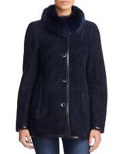Maximilian Fox Fur collar Navy Blue Women's Shearling Jacket Medium $1995