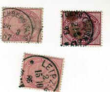 Lot 3 Timbres Stamps germany Deutsche Reichs Post Zwei mark 1886 1893 Leipzig