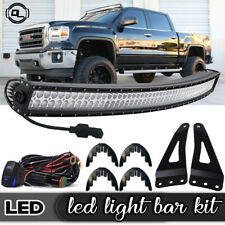 """For 07-13 Chevy Tahoe Suburban 50"""" Curved LED Light Bar w/Upper Brackets, Wiring"""