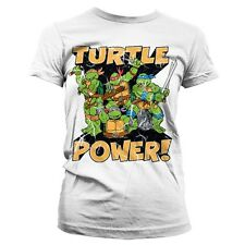 Official Ladies Teenage Mutant Ninja Turtles Power White Retro T-Shirt - Fitted