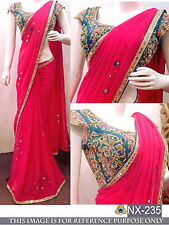 Bollywood Designer Party Wear Pink Color Heavy Blouse Designer Georgette  Saree