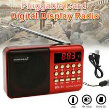 Mini Portable FM Radio LCD Digital MP3 Player Speaker AUX Rechargeable Red UK