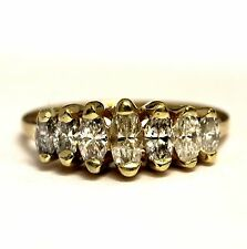 14k yellow gold .90ct SI2 H marquise diamond anniversary ring band 2.8g vintage