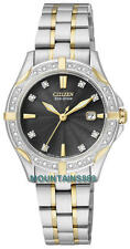 Citizen Eco-Drive Watch,24 Diamonds,S/Steel,TwoTone,WR100,Date,Ladies,EW1924-52H