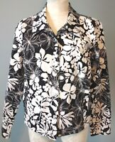 Liz Claiborne Woman Size XL Jean Jacket Black/White Floral Print Stretch Cotton