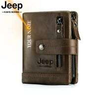 JEEP KAVIS Genuine Leather Men Wallet Coin Purse Card Holder PORTFOLIO For Male