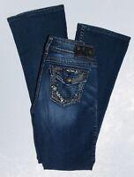 Silver Jeans Suki  Size 26 x 33 Womens Blue Denim Stretch Boot Cut Dark Wash