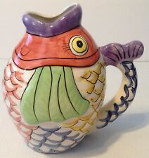 Colorful Fish Beverage Pitcher Coastal Decoration Figurine
