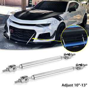 "Adjust 10""-13"" Stabilizer Bumper Diffuser Silver Strut Rod Bars For Chevy Camaro"