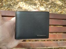 NEW Authentic Burberry Leather International Bifold ID Coin Wallet, Black,in Box